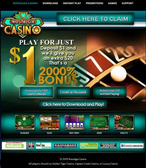 Nostalgia Casino, Deposit $1 and play with $20